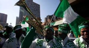 nigeria flag supporters cheer